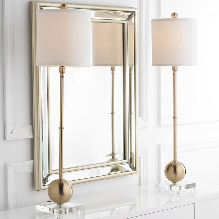 Brushed Gold Sphere Candlestick Lamp An appealing blend of brushed gold, sparkling clear crystal and off white linen combine for a timeless modern buffet lamp with understated elegance. The slender profile is perfect in pairs on a dining buffet, console or foyer table.