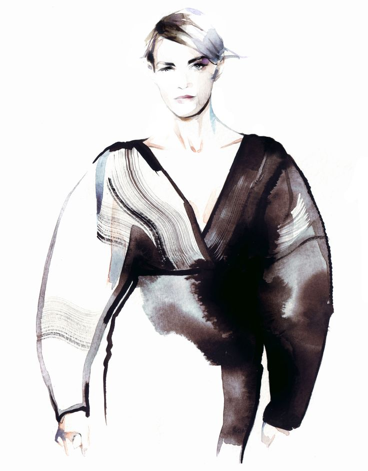 Fashion illustration of a voluminous dress by Stella McCartney; fashion drawing // Petra Dufkova