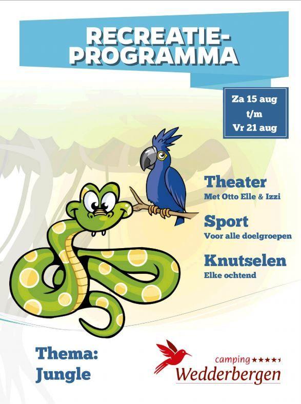 Activiteiten programma van 15 t/m 21 augustus met als thema Jungle