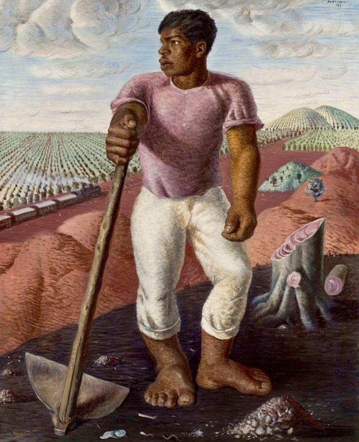 A evolução da pintura de Portinari na mostra 'Portinari Popular'  'O Lavrador de Café' (1934), óleo sobre tela que foi furtado do Masp e depois resgatado, mostra a influência de seu mentor Mário de Andrade, que queria um modernismo engajado com as causas sociais.