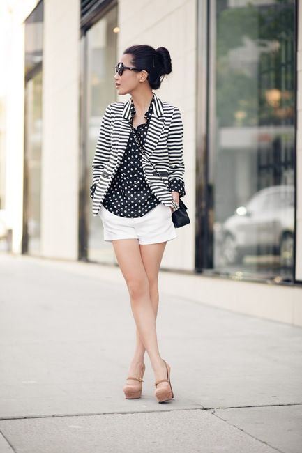 : Light Pink Blazers, Shoes, White Shorts, Polka Dots, Mixed Patterns, Outfit, Stripes Blazers, Marshmallows, Patterns Mixed