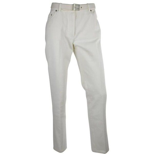 Preowned Chanel 1995p White Twill Cotton Jeans With Silver Belt Buckle... ($2,300) ❤ liked on Polyvore featuring jeans, pants, white, tie belt, pocket jeans, karl lagerfeld, twill jeans and buckle jeans