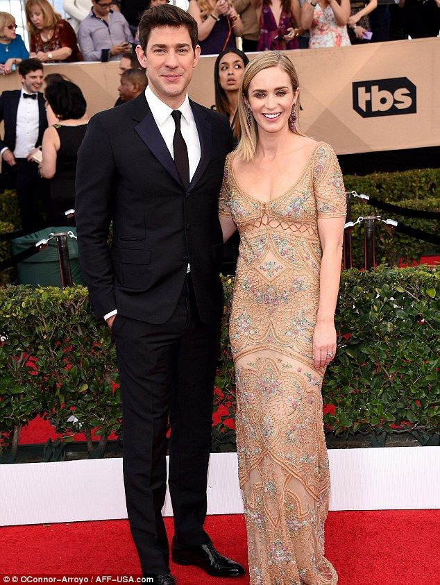Cute couple: John Krasinski escorted his wife Emily Blunt on Sunday to the Screen Actors Guild Awards in Los Angeles