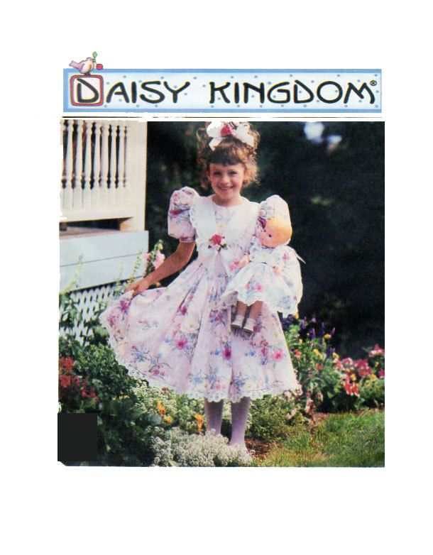 DAISY KINGDOM Toddler Fancy Dress Simplicity 7009 (includes doll dress) Sewing Pattern Full Skirt Puff Sleeves - Flower Girl Size 3-4-5-6 by FindCraftyPatterns on Etsy