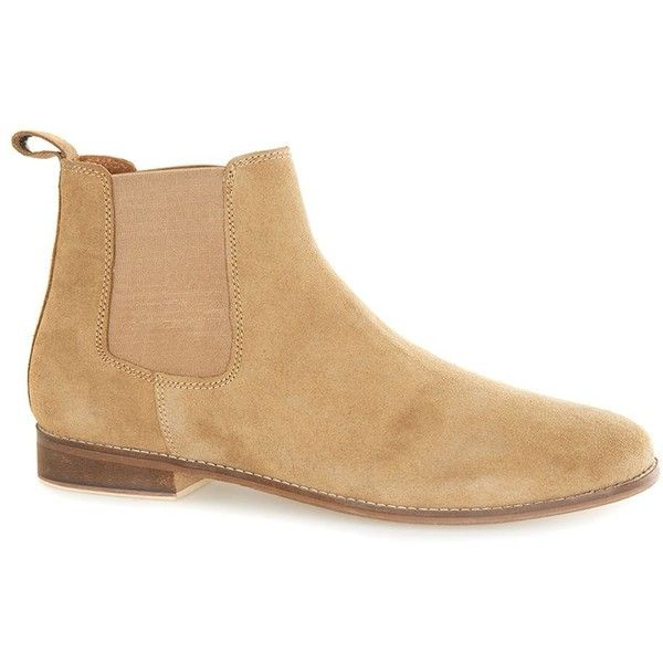 TOPMAN Tan Suede Chelsea Boots (235 BRL) ❤ liked on Polyvore featuring men's fashion, men's shoes, men's boots, brown, mens tan suede chelsea boots, mens suede chelsea boots, mens brown shoes, topman mens shoes and mens brown suede chelsea boots