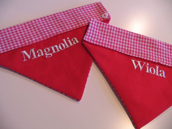 Personalised doggy bandanas by Birdyheartsbuttons on Etsy, £7.50