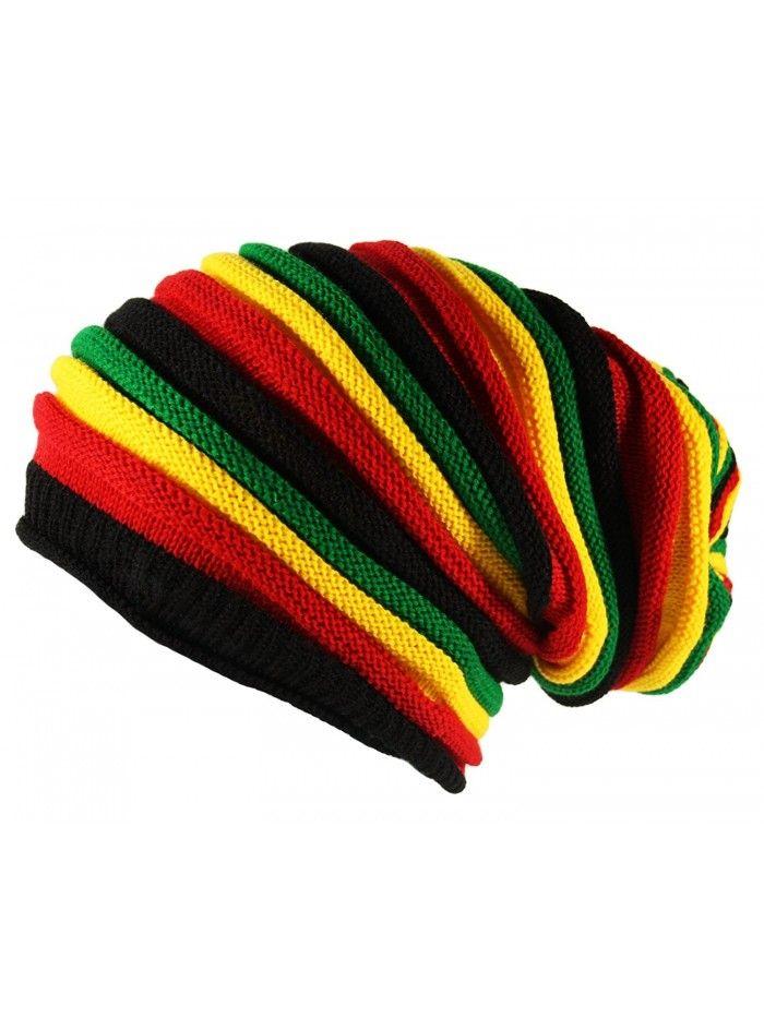 1f21a265 Hats & Caps, Men's Hats & Caps, Skullies & Beanies,Black Oversized Rasta  Slouch Beanie Cap Hat in Red Yellow Green Striped - CZ11IWFKI8V #menscaps  #menshats ...