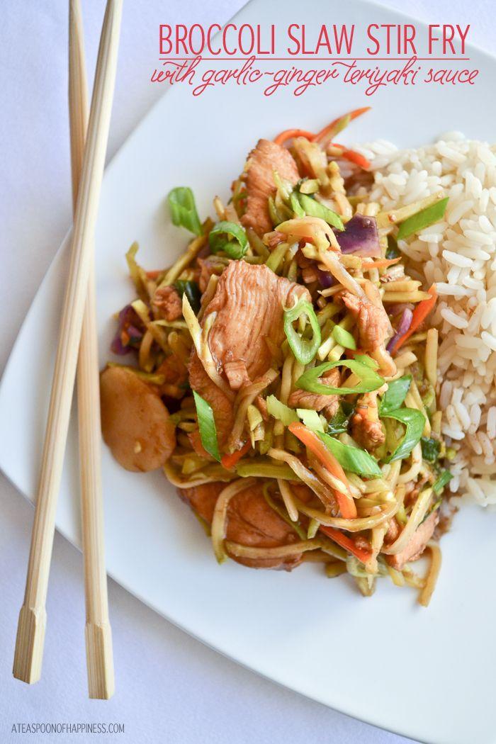 Broccoli Slaw Stir Fry with Garlic-Ginger Teriyaki Sauce - A Teaspoon of Happiness