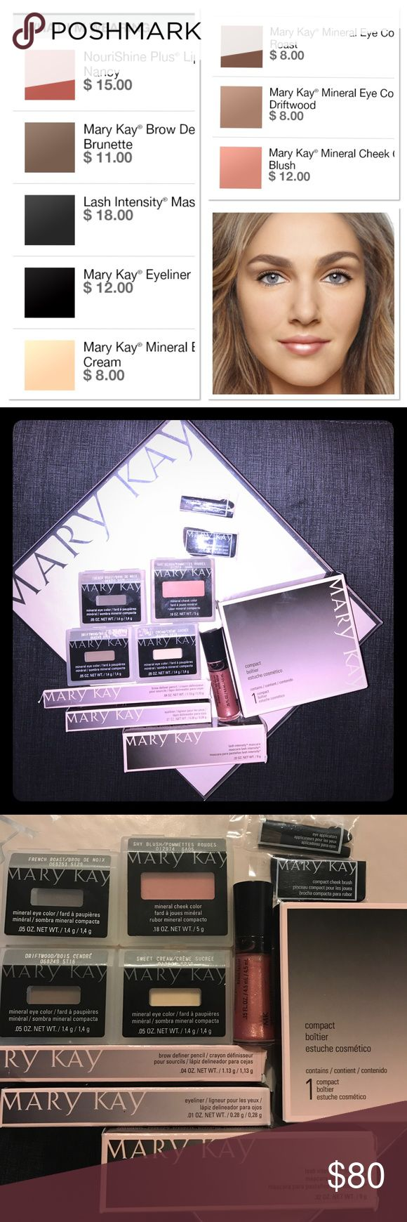 MaryKay - Get This Look Complete Natural Look that can be worn day or night! Included in this bundle are 3 Mineral Eye Shadows- Sweet Cream, French Roast & Driftwood. 1 - Mineral Cheek Color in Sky Blush, Black Eye Liner, Lash Intensity Mascara-black, 1- Brow Defining Pencil in Brunette, 1- NouriShine Lip Gloss in Fancy Nancy. MaryKay Compact to safety store and take with you the 3 shadows, check color, applicators and lip color. Total Retail Value $115.00! Mary Kay Makeup