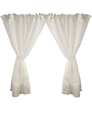 """This voile caf? curtain 2 pack, made with sheer polyester has border detail and attached tie backs. These short taped curtains are perfect for dressing a small window. Measures 110x120cm.<div class=""""pdpDescContent""""><BR /><BR /><b class=""""pdpDesc"""">Fabric Content:</b><BR />100% Polyester<BR /><BR /><b class=""""pdpDesc"""">Wash Care:</b><BR>Lukewarm machine wash</div>"""
