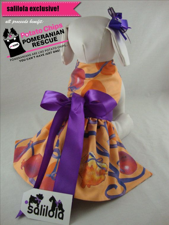 Pomeranians and Pomegranates - reversible Pomeranian Rescue Dog Dress.  This dress is so cute with the poms on the front, and reversible with purple chevrons on the back.  Two dresses in one!  Be sure to check the listing photos to see the reverse side.  Awesome!