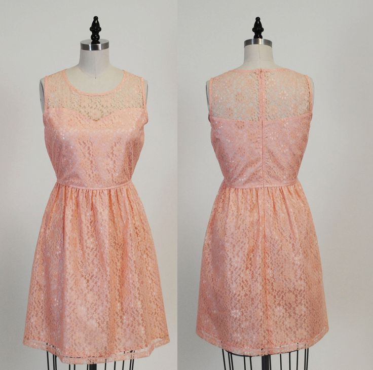 PROVENCE (Peach) : Peach lace dress, sweetheart neckline,  vintage, shirred skirt, chiffon sash, party, day, bridesmaid by MfandjDesigns on Etsy https://www.etsy.com/listing/171171778/provence-peach-peach-lace-dress