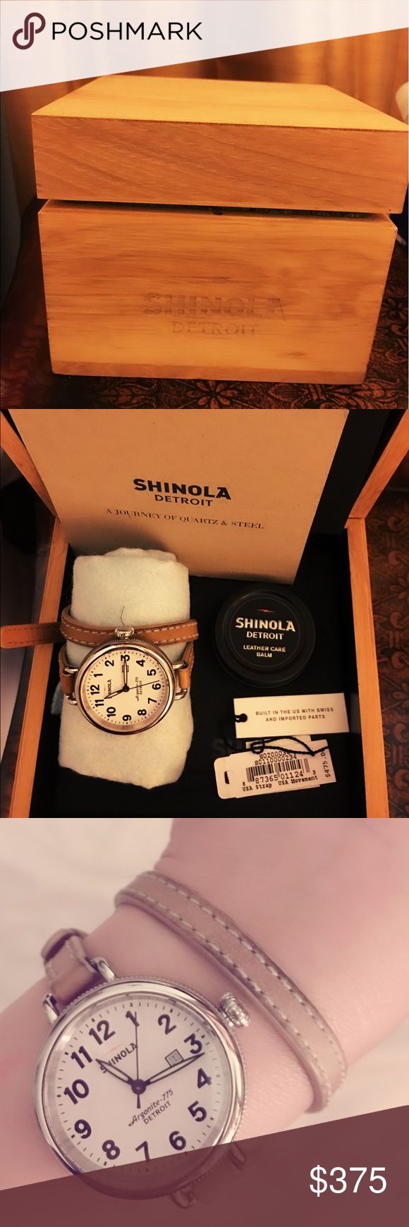"""💯authentic Shinola """"birdy"""" wrap around watch As seen on many celebrities. This is a Beautiful wrap around classic watch that are interchangeable. It's made in Detroit Michigan. I purchase this last December in Nordstrom. It's so feminine and beautiful. It comes with a beautiful wooden box, a small leather polisher and tag. NOT FOR SALE at this time. Shinola Other"""