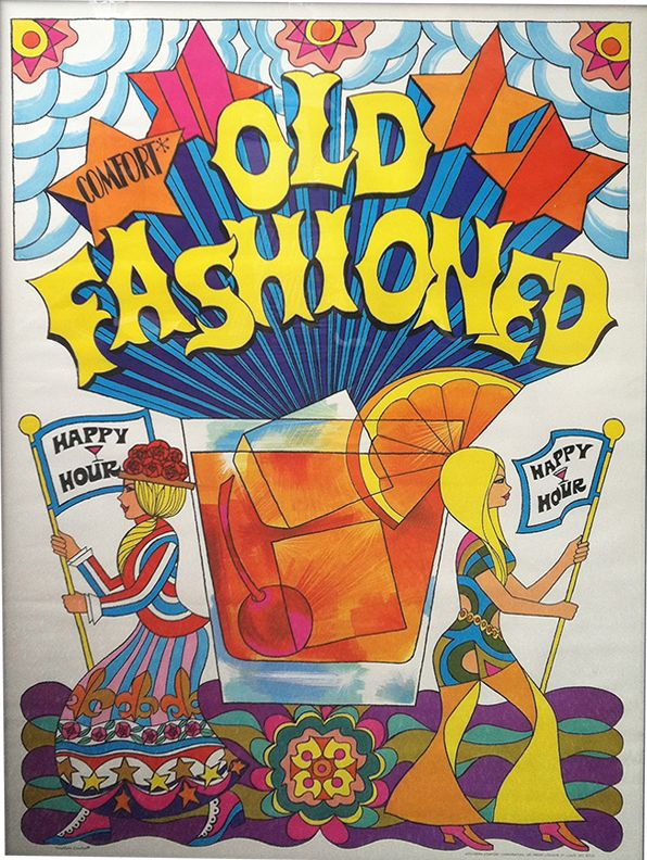 1970's Southern Comfort 'Old Fashioned' illustration. My fave psychedelic 70's illustration plus my fave cocktail!!