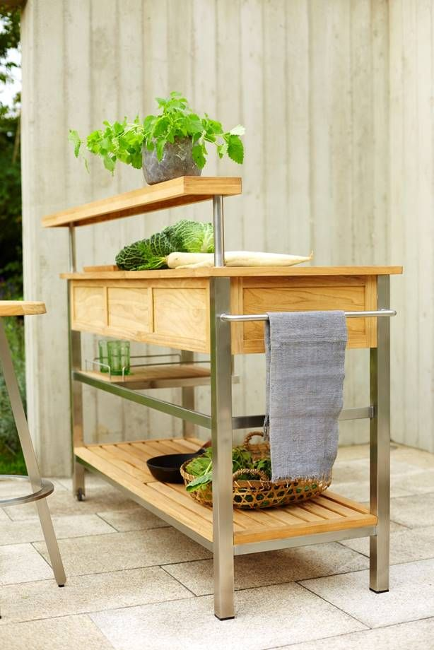 Solpuri Butler Kitchen Cart Material Stainless Steel Teak
