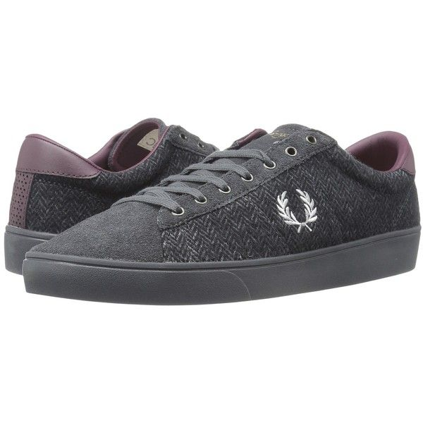 Fred Perry Spencer Tweed Suede (Charcoal/Dolphin) Men's Shoes ($66) ❤ liked on Polyvore featuring men's fashion, men's shoes, men's sneakers, mens lace up shoes, mens suede shoes, mens sneakers, mens shoes and fred perry mens shoes