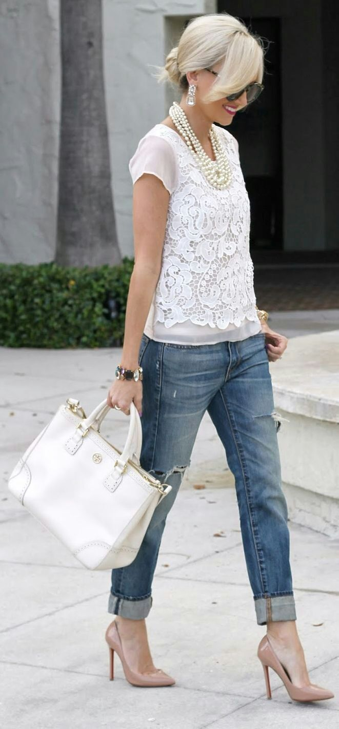 Cute top to go with my distressed jeans! Maybe not a such a crisp white for the top. And there's no way I wear those heels! (And that bag would be pointless!)