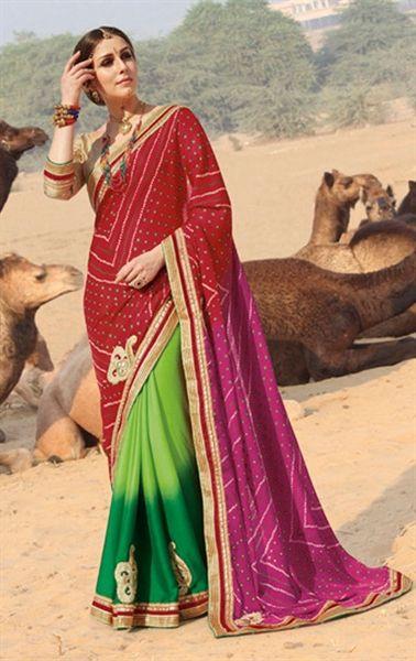 Mesmerizing Multicolor Bandhani Saree