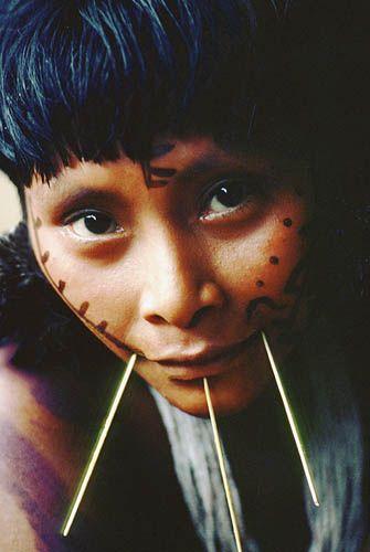 Brazil. Amazon rain forest. Yanomami indian woman.