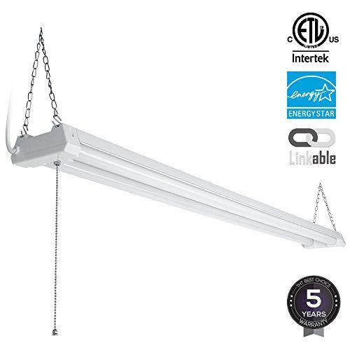 4ft 40W Linkable LED Utility Shop Light, 4100 Lumens, ETL Listed, Double Integrated LED Ceiling Fixture, 5000K Daylight, Pull Cord Switch, Garage/Basement/Workshop