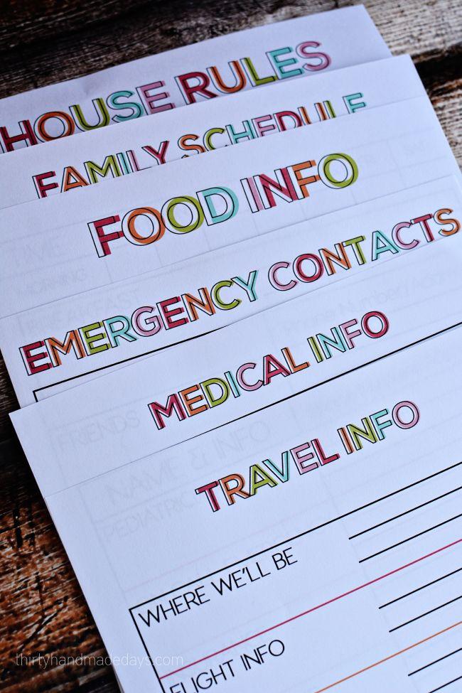 Free printables for Travel Binder for Babysitters from www.thirtyhandmadedays.com