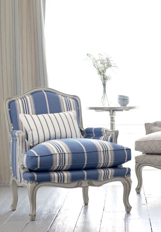 blue and white striped accent chair hanging in pakistan romo fabrics wallcoverings furniture pinterest decor