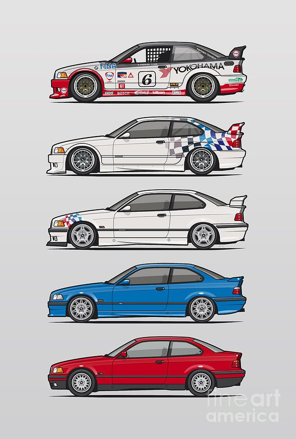 Car Digital Art - Stack Of Bmw 3 Series E36 Coupes by Monkey Crisis On Mars