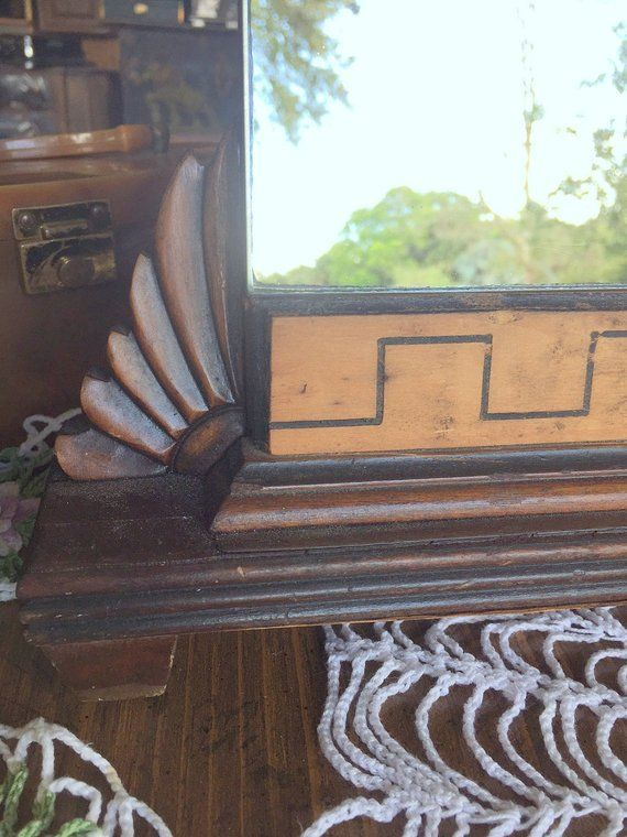 8a0313cbe18 Exquisite Art Deco Shaving Mirror ~ Hand Carved 2 Tone Wood Framed Dresser    Vanity Mirror ~ Self standing to easily change location   angle
