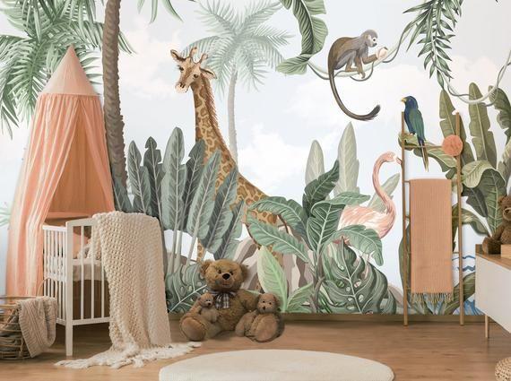 Kids Wallpaper Self Adhesive Peel And Stick Safari Animals Etsy In 2020 Kids Room Murals Kids Room Wall Murals Kids Wallpaper