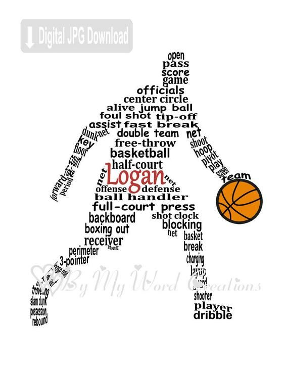 Personalized Boy Basketball Player Digital Word Art Etsy Basketball Player Gifts Basketball Wall Basketball Training Equipment