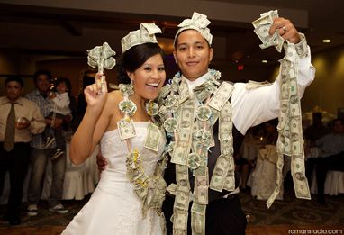 """During Cuban wedding receptions, wedding guests take part in the traditional money dance, where each man who dances with the new bride must pin money to her dress to help the newlyweds with their honeymoon expenses."""