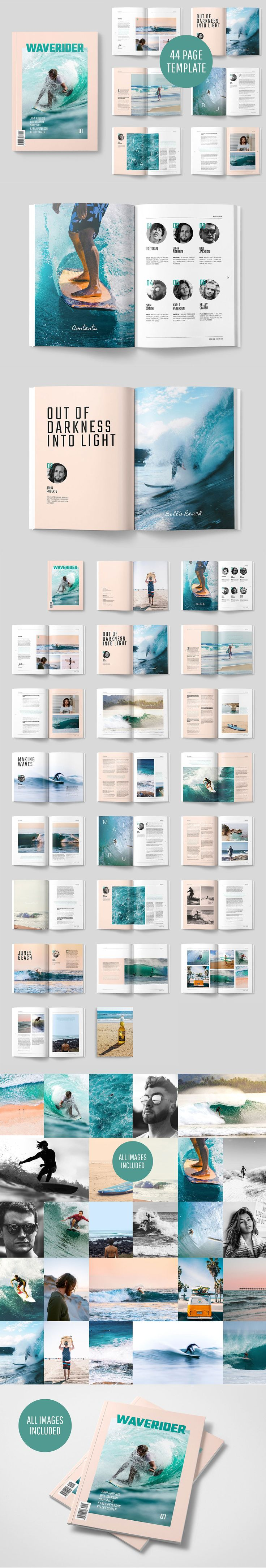#Freebies : A modern, minimal, magazine, folio or #brochure #InDesign template. This layout has been designed as a Surfing #magazine, but could easily be turned into any sort of sport or adventure theme. ( #branding #creative #inspiration #webdesign #print #fashion #photography #bloggers #adventure )