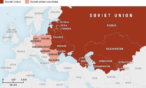 This Map Shows The Soviet Union And Its Eastern European Allies