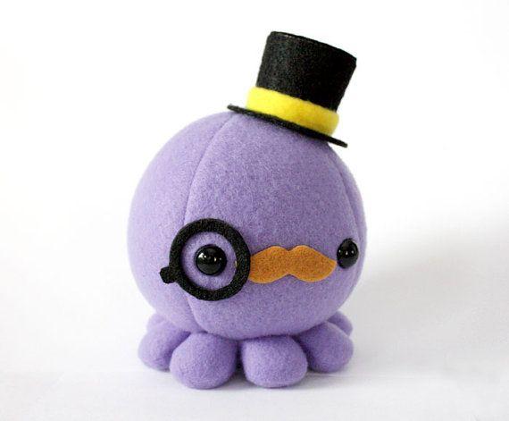 Moustache Octopus Plush w/ Top Hat and Monocle - Choose ...