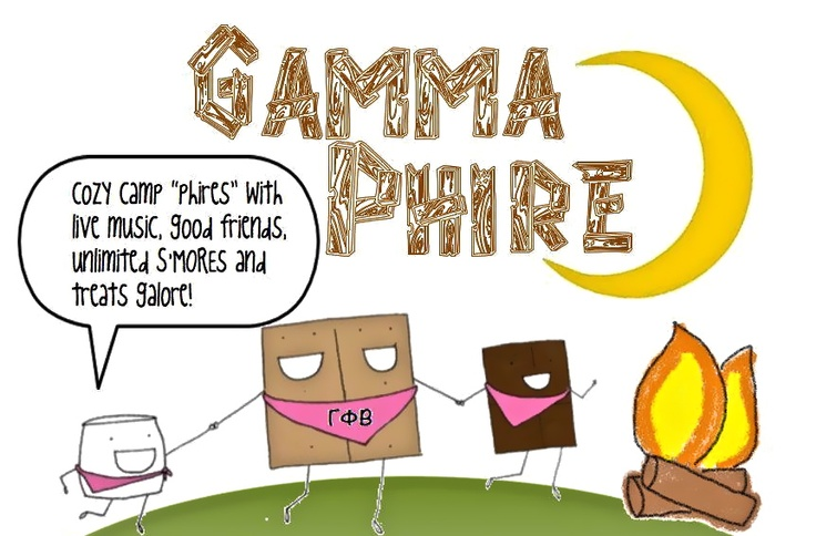Philanthropy template! So cuteCampfires Usa, Gamma Phire, Camping Theme, Alpha Chi, Gamma Phi Beta Philanthropy, Campfires Kids, Philanthropy Templates, Camps Theme, Smores Movie Night