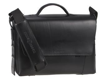 Aktentasche Leder Damen Herren Umhängetasche modern 2 Fächer schwarz Tasche Schultertasche Lehrertasche Businesstasche