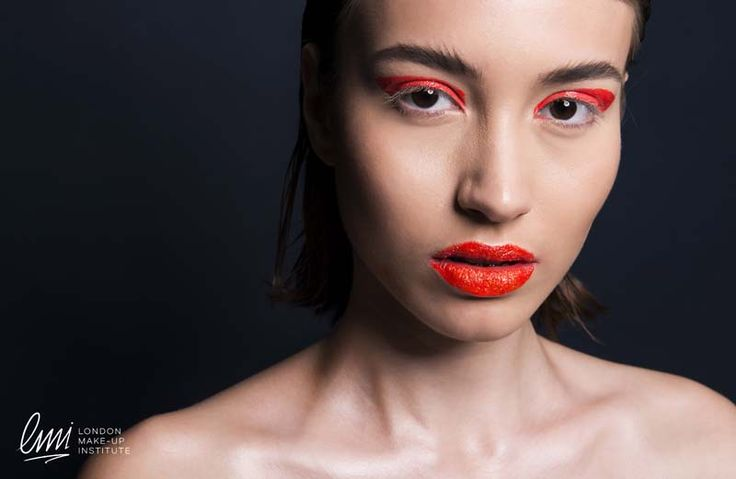 Red lips with red smokey for a playful makeup from LMI students!