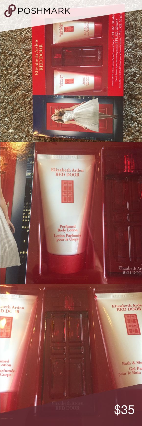 Red Door by Elizabeth Arden perfume set Never opened brand new Red Door perfume, body lotion, & shower. Elizabeth Arden Makeup