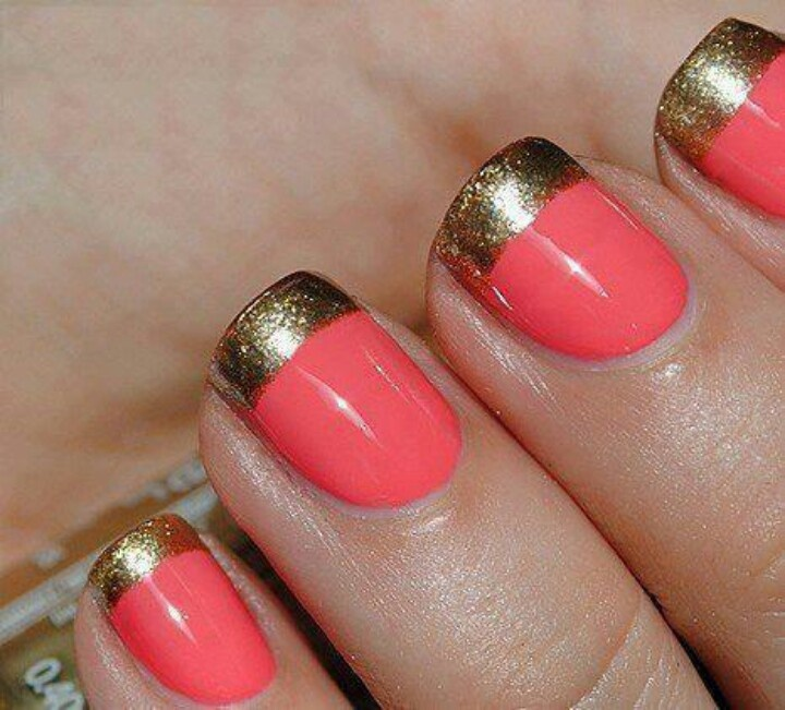 Coral with Gold Tip Manicure