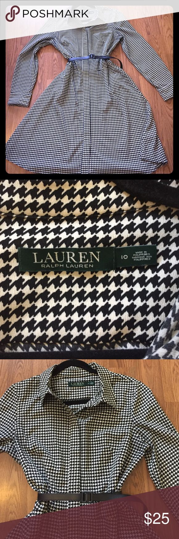 Black and white houndstooth Ralph Lauren dress One Day sale! Classic houndstooth shirt dress from Lauren Ralph Lauren.  Laying flat: Chest is 19 inches pit to pit, length is 39 inches shoulder to hem. Waist is 16 inches.  Comes with black belt.  EUC worn only a couple of times. Lauren Ralph Lauren Dresses Long Sleeve