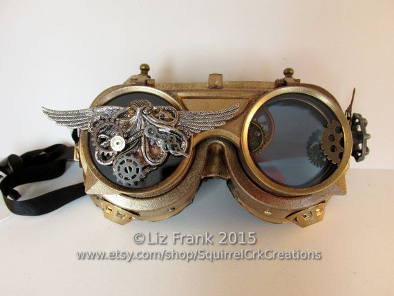 Gold and Copper Steampunk Goggles with door SquirrelCrkCreations