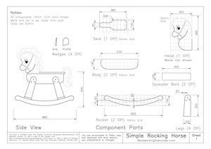 Download rocking horse plans for free, complete with drawings, photos, materials list and construction notes. Includes a full size template drawing.