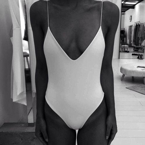 sexy white one piece swim suit