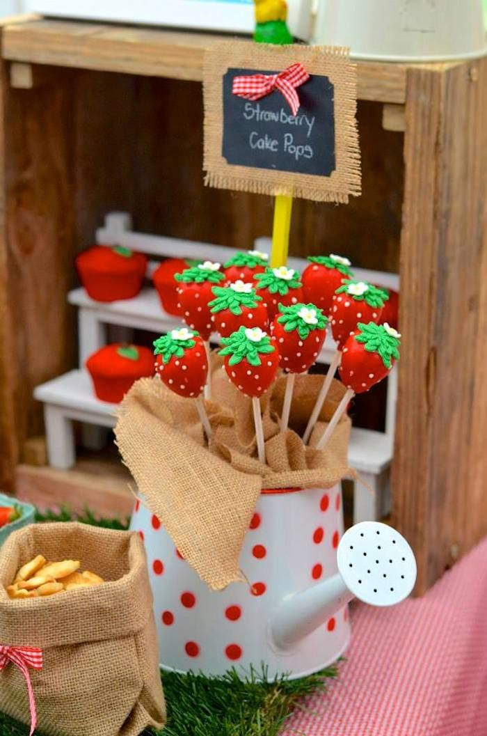 Cute strawberry cake pops! Farm + Barnyard themed birthday party via Kara' s Party Ideas KarasPartyIdeas.com Recipes, cakes, printables, games, favors, and MORE! #farm...