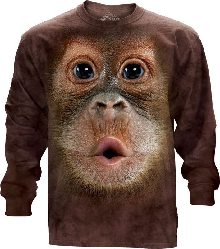 Big Face Baby Orangutan Long Sleeve Tee - 30% DISCOUNT ON ALL ITEMS - USE CODE: CYBER  #Cybermonday #cyber #discount