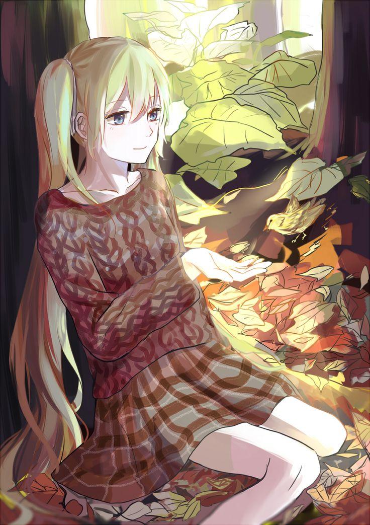 Аниме картинка 1100x1560 с  вокалоид hatsune miku renee длинные волосы single высокое изображение голубые глаза два хвостика сидит чёлка волосы цвета морской волны смотрит в сторону лёгкая улыбка солнечный свет солнечный луч девушка юбка дерево (деревья) лист (листья) свитер