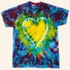 Peace, love and tie dye. Bring back the spirit of the 1960s with this stitched tie dye heart pattern t-shirt. With an embroidery heart and bright colors, this shirt is sure to attract positive attention. This craft will teach you how to tie dye hearts, an