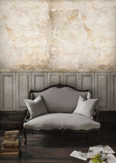 Facade Panel (SPW0022-01) - Sidney Paul & Co Murals - A mural showing wood panelling below a distressed plastered wall. Hang your own vintage pictures on it to give a real rustic feel to your room. This mural design is 210cm W x 300cm H and is supplied on a roll 70cm wide and 9m long. Paste the wall product.