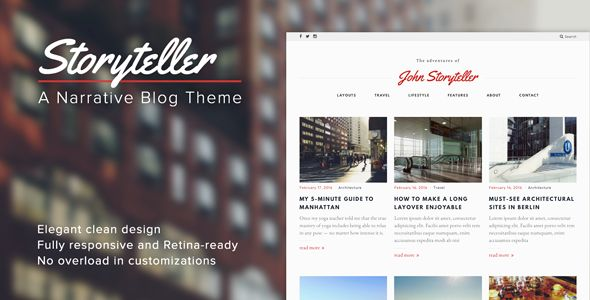 Storyteller is intended for visual storytelling and photoblogging. It is a good choice for a personal blog or a magazine. Be it a food blog, a travel journal, a lifestyle or fashion blog, a travelogue or anything else — strong accent on typography, readability and images makes this WordPress theme a great match for any creative media. Authors and writers will appreciate the clear design and easy set up of this theme.  #food #blog #design #inspiration