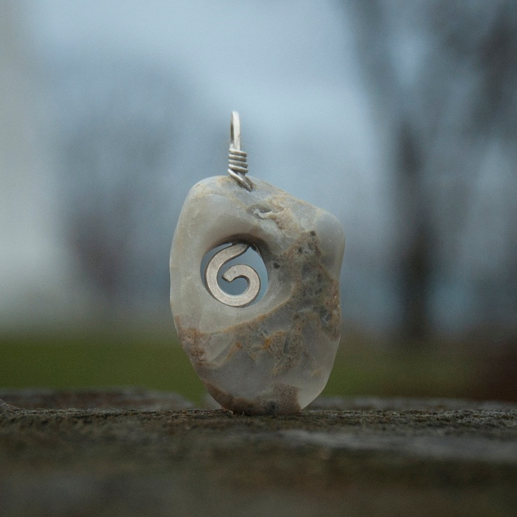 Grey Quartz Beach Stone with Argentium Sterling Silver Spiral. $57.00, via Etsy.